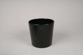 A058IH Vase en verre noir D17cm H16cm