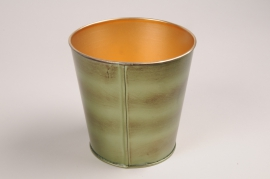 A058JY Cache-pot en métal vert D12cm H12cm