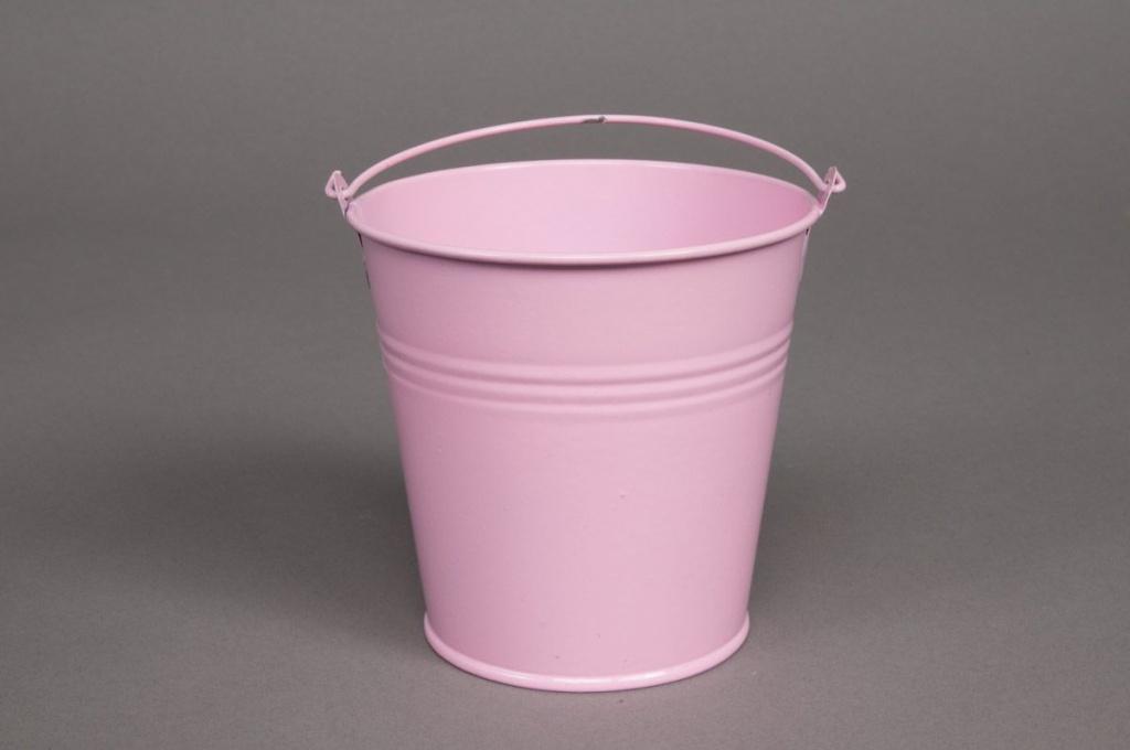 A058KM Bucket zinc pink D13cm H12cm