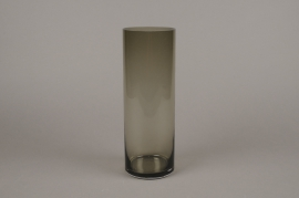 A058W3 Smoked glass cylinder vase D10cm H30cm