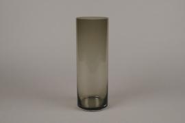 A058W3 Vase cylindre en verre fumé D10cm H30cm
