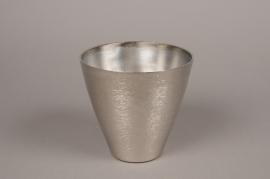 A059E6 Silver metal brushed vase D15cm H15cm