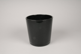 A059IH Black glass vase D19cm H19cm