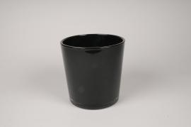 A059IH Vase en verre noir D19cm H19cm