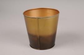 A059JY Cache-pot en métal or noir D12cm H12cm