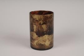 A059LE Photophore en verre bordeaux et or D12cm H18cm