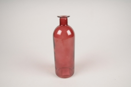 A059NH Vase en verre bouteille framboise D7cm H20cm