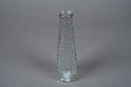 A059R4 Vase en verre motif losange D7.5cm H25cm