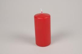 A059RP Boîte de 12 bougies cylindre rouge carmin D6cm H12cm