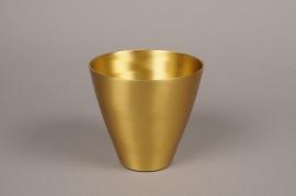 A060E6 Gold metal vase D15cm H15cm