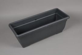 A060H7 Jardinière en plastique gris 20cm x 50cm H17cm