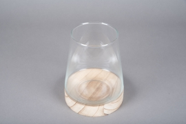 A060IH Glass tapered vase with wooden stand D15cm H19cm