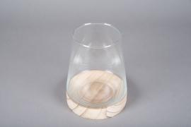A060IH Vase coupe en verre avec socle en bois D15cm H19cm