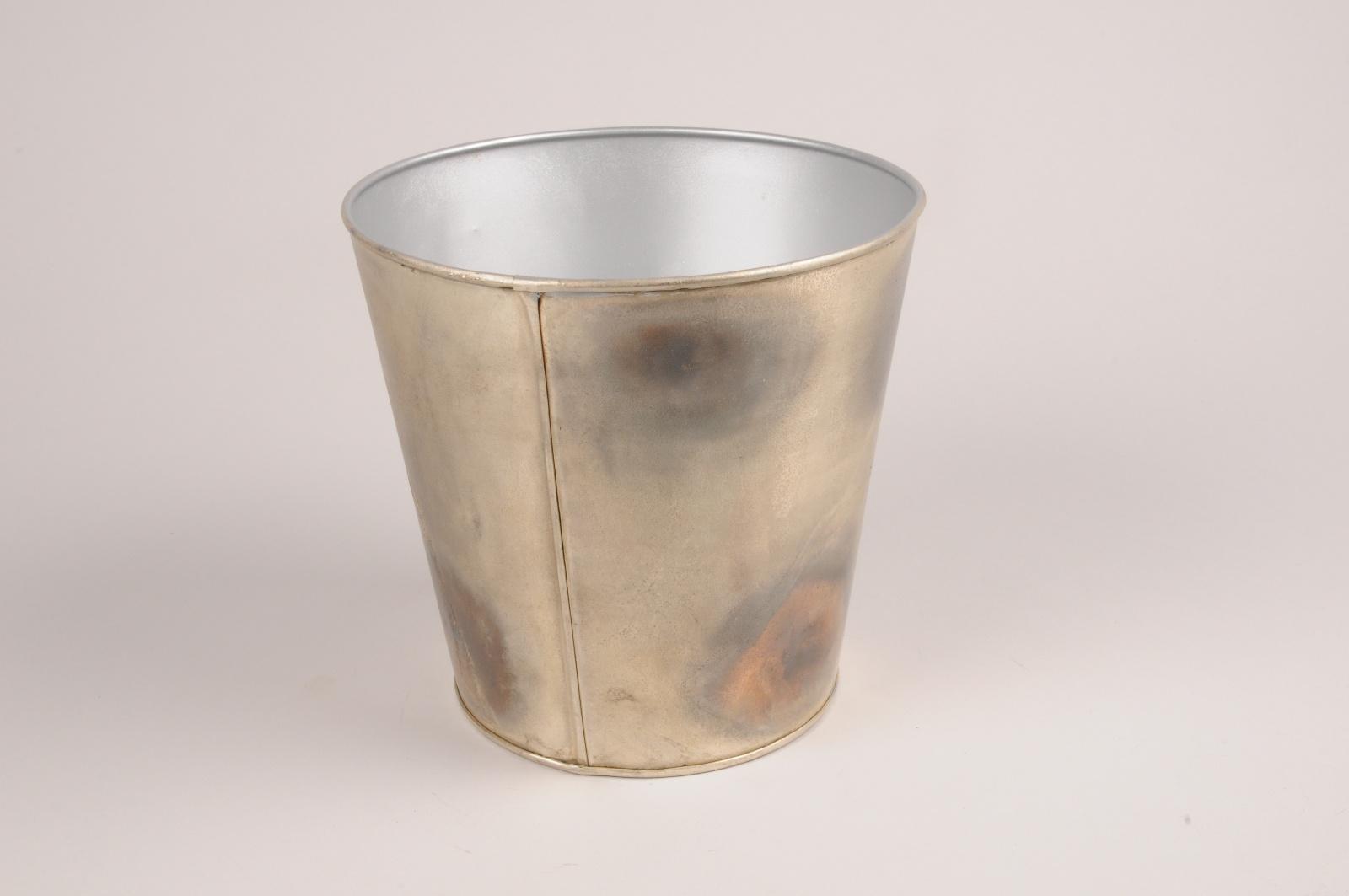 A060JY Cache-pot en métal gris tâche noir D15.5cm H15.5cm
