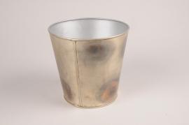 A060JY Grey metal planter D15.5cm H15.5cm