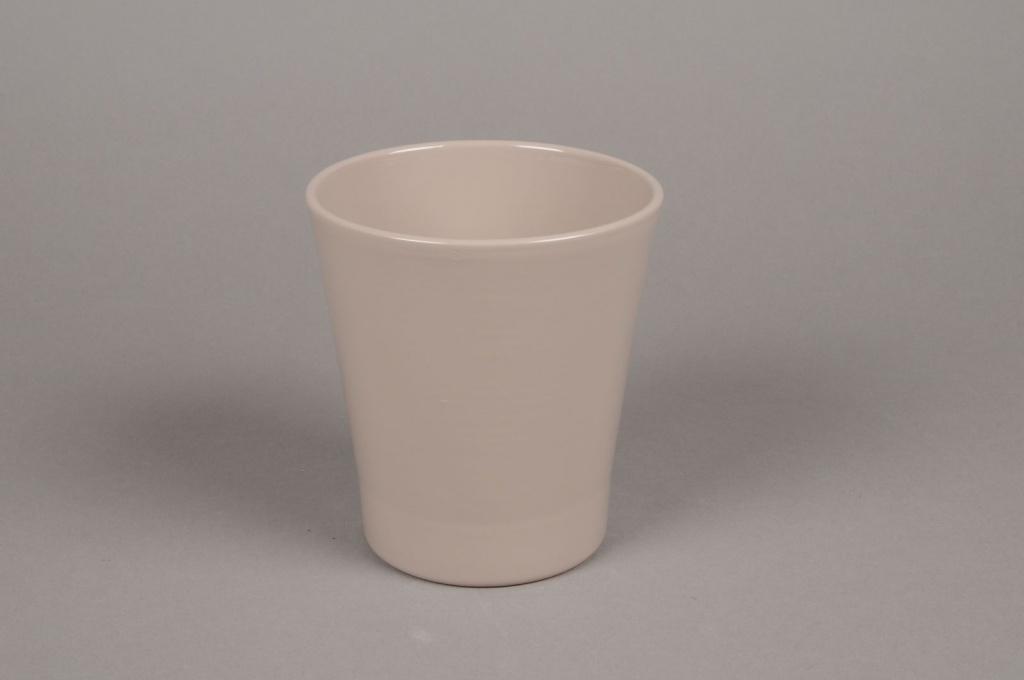 A060PP Cache-pot en céramique taupe D13cm H14cm