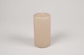 A060RP Boîte de 12 bougies cylindre gris sable D6cm H12cm