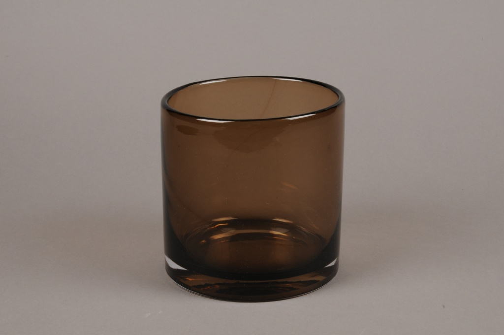 A060W3 Vase en verre marron D14.5cm H15cm