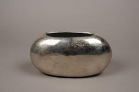 A061BV Vase en métal argent 30x12cm H15cm