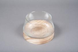 A061IH Vase coupe en verre avec socle en bois D18cm H12cm
