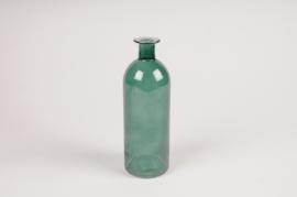 A061NH Vase en verre bouteille vert D7cm H20cm