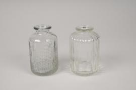 A061R4 Vase bouteille en verre assortis D6cm H10cm