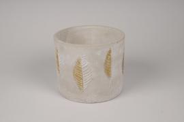 A061U0 Cache-pot en béton gris et or D17cm H14cm