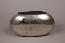 A062BV Silver metal vase 36x14cm H20cm