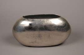 A062BV Vase en métal argent 36x14cm H20cm