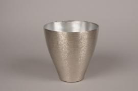 A062E6 Silver metal brushed vase D18cm H18.5cm