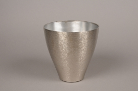 A062E6 Vase en métal argent D18cm H18.5cm