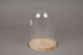 A062I0 Cloche en verre avec plateau bois D14cm H20cm