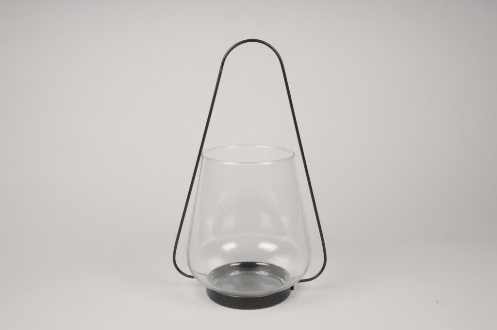 A062IH Lanterne en verre et métal noir D22cm H36cm