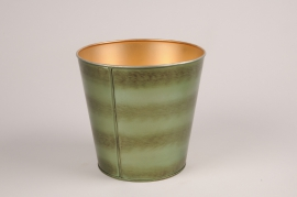 A062JY Green metal planter D15.5cm H15.5cm