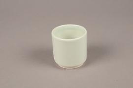 A062T3 Cache-pot en céramique vert D7cm H7cm