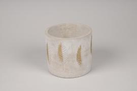 A062U0 Cache-pot en béton gris et or D14cm H12cm