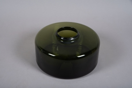 A062W3 Green glass vase D30cm H13cm