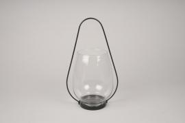 A063IH Lanterne en verre et métal noir D18.5cm H31cm