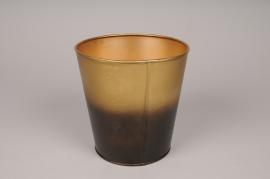 A063JY Cache-pot en métal or noir D15.5cm H16cm