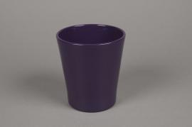 A063PP Cache-pot en céramique violet D13cm H14cm