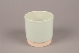 A064T3 Green ceramic planter pot D13cm H13.5cm
