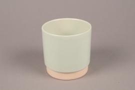 A064T3 Green ceramic planter pot D13cm H13.5cm