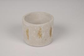 A064U0 Cache-pot en béton gris et or D10cm H8cm