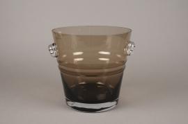 A064W3 Brown glass champagne bucket D24cm H24cm