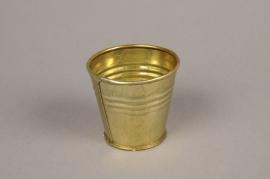 A065E6 Gold zinc planter D7cm H6cm