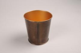 A065JY Cache-pot en métal cuivre D18cm H17cm