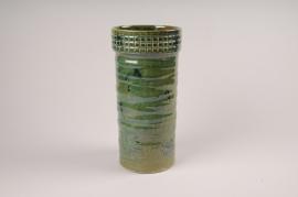 A065LE Vase en céramique vert D13cm H30.5cm