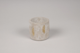 A065U0 Cache-pot en béton gris et or D8cm H7cm