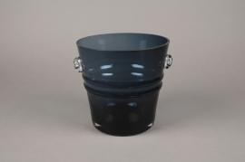 A065W3 Seau à champagne en verre bleu D20cm H20cm