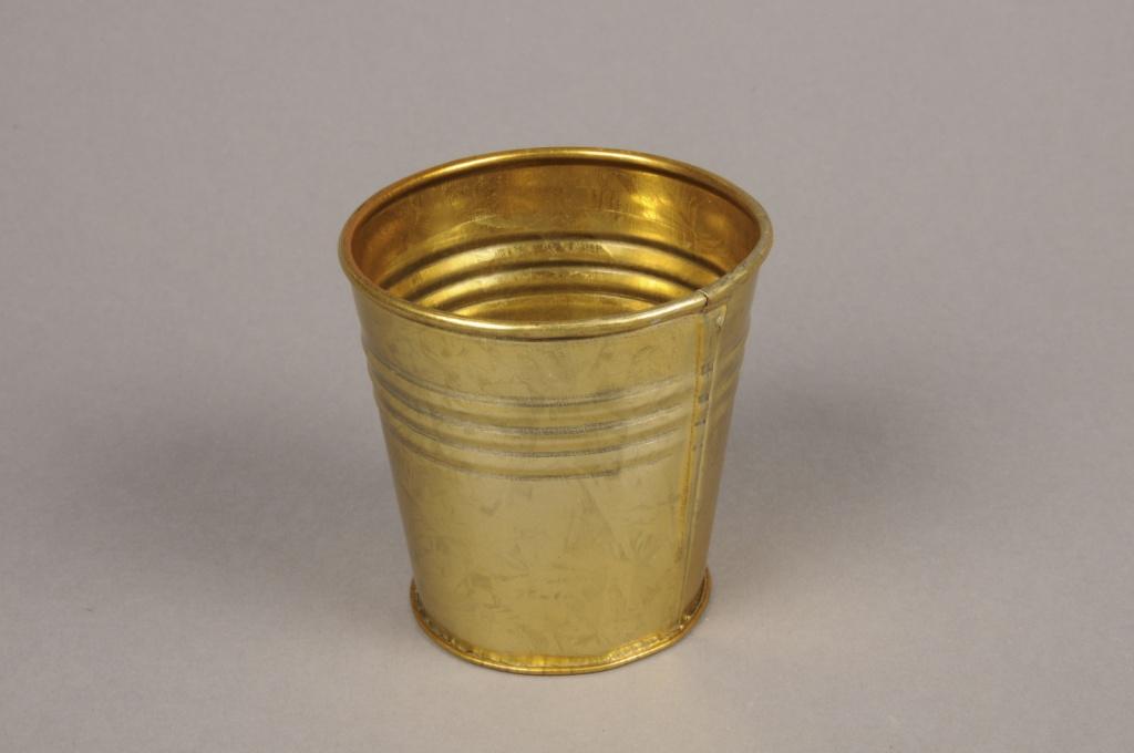 A066E6 Cache-pot en zinc or D7cm H7cm